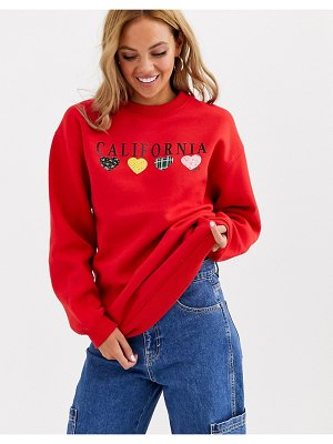 Daisy Street relaxed sweatshirt with vintage america print-red
