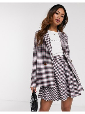 Daisy Street relaxed tailored blazer in check two-piece-gray