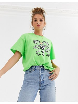 Daisy Street relaxed tshirt with dragon graphic-green