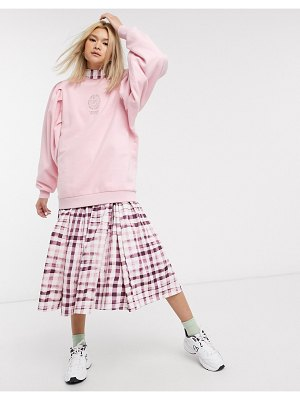 Damson Madder organic cotton relaxed sweatshirt with extreme sleeves and front and back print-pink