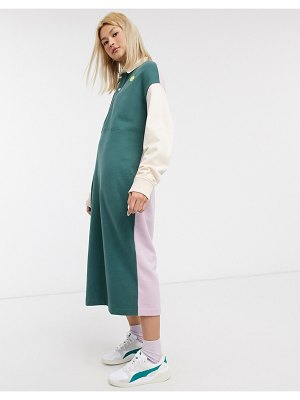 Damson Madder oversized organic cotton polo shirt dress with contrast pannels and chest logo-multi