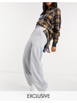 Damson Madder recycled poly cotton straight leg relaxed pants with front seam & logo detail-grey