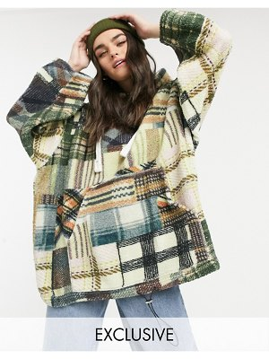 Damson Madder recycled polyester oversized hoodie in plaid teddy fleece-multi