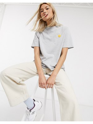Damson Madder relaxed t-shirt with contrast crinkle sleeves and embroidered logo-gray
