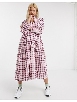 Damson Madder tiered organic cotton maxi dress in check with bow neck tie-pink