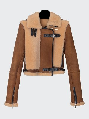 Dan Cassab Alanis Belted Leather and Shearling Jacket