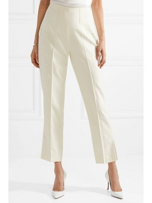 Danielle Frankel chantilly lace-trimmed silk and wool-blend tapered pants