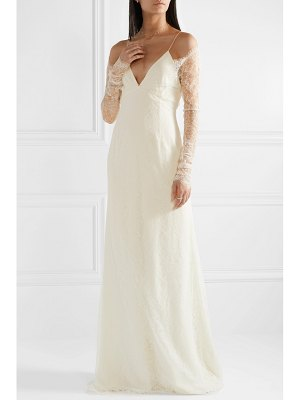 Danielle Frankel cold-shoulder chantilly lace and chiffon gown - off-white