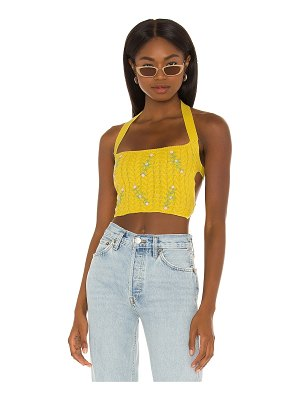 DANIELLE GUIZIO cable knit floral embroidered halter top