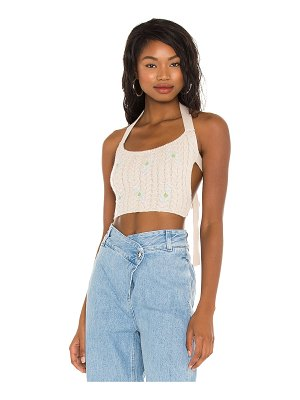 DANIELLE GUIZIO cable knit flower embroidery top
