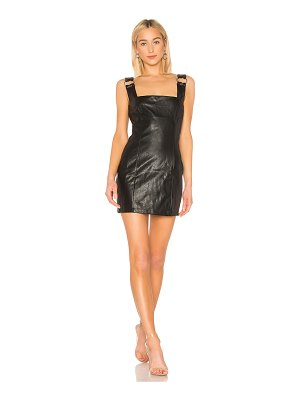 DANIELLE GUIZIO Faux Leather O-Ring Dress