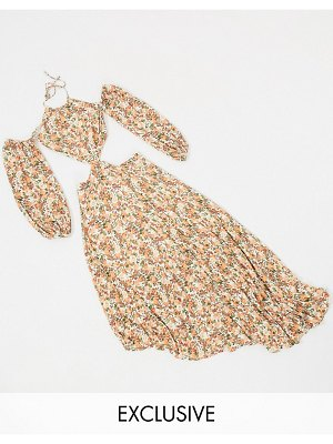 Dark Pink cold shoulder asymmetric hem dress with cut out detail in mixed rose print-multi