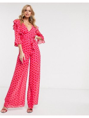 Dark Pink plunge front jumpsuit in red and pink polka dot-multi