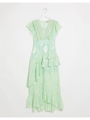 Dark Pink plunge front maxi dress with lace detail and short sleeve in mint green-blue