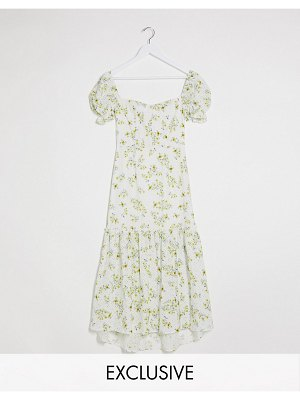 Dark Pink puff sleeve button up broderie midi dress in white based ditsy floral print-multi
