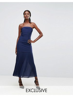 Dark Pink sleek bandeau maxi dress with pleated hem detail