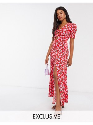 Dark Pink thigh split maxi dress with puff sleeve and cut out in red rose print