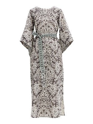 D'ASCOLI raya belted floral-print cotton-khadi dress