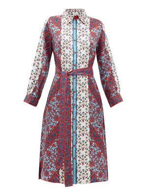 D'ASCOLI theodora printed silk midi shirtdress
