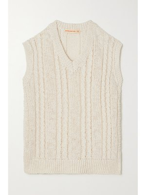 Daughter &+ net sustain cable-knit linen and cotton-blend tank