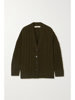 Daughter &+ net sustain lena cable-knit wool cardigan