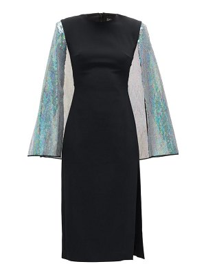 David Koma cape-sleeve sequinned crepe dress