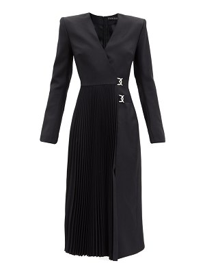 David Koma knife-pleated wool wrap dress