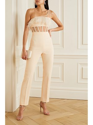 David Koma one-shoulder feather-trimmed crepe and tulle jumpsuit