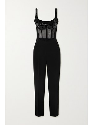 David Koma patent-leather and tulle-trimmed cady jumpsuit