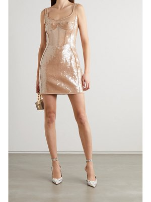 David Koma sequined tulle and cady mini dress