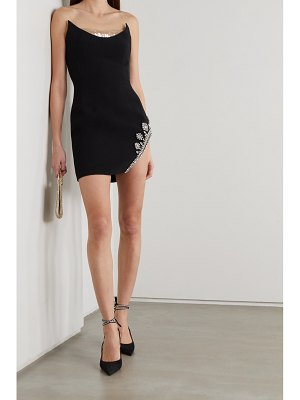 David Koma strapless sequined tulle-trimmed crystal-embellished cady mini dress