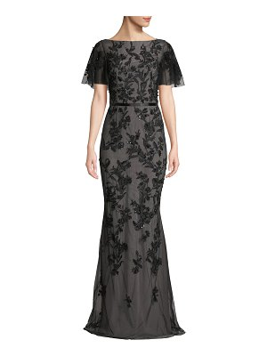 David Meister Floral Embroidered Gown w/ Flutter Sleeves