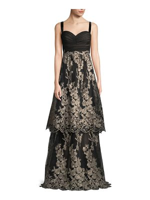 David Meister Sleeveless Tulle Gown w/ Metallic Embroidered Skirt