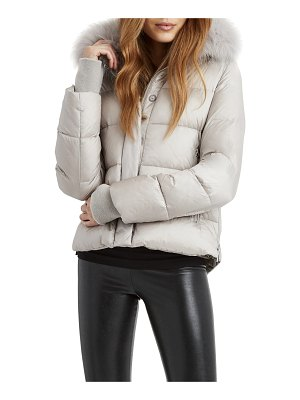 Dawn Levy Vera Puffer with Side Zips and Detachable Shearling Collar