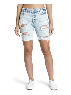 DAZE daydreamer ripped high waist denim biker shorts