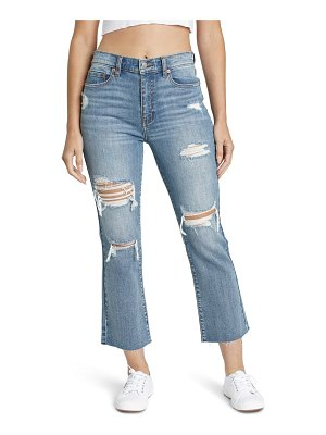 DAZE shy girl ripped high waist crop flare jeans