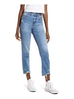 DAZE straight up distressed straight leg ankle jeans