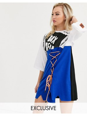 DB Berdan t-shirt dress with lace up panel and contrast laces-multi