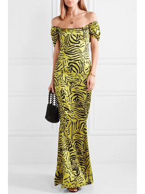 DE LA VALI alma tiger-print silk-satin maxi dress