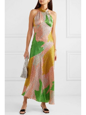 DE LA VALI vivienne asymmetric printed silk-satin maxi dress
