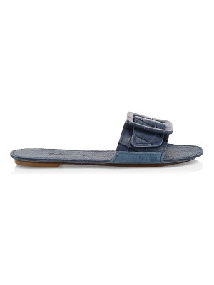 Definery loop croc-embossed leather flat sandals