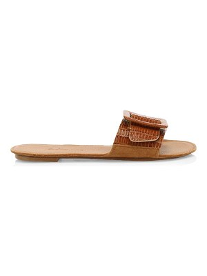 Definery loop lizard-embossed leather flat sandals