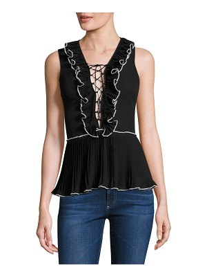 Delfi Collective Ella Ruffle Lace Up Tank Top