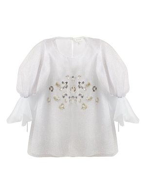 Delpozo Floral-embellished net and silk blouse