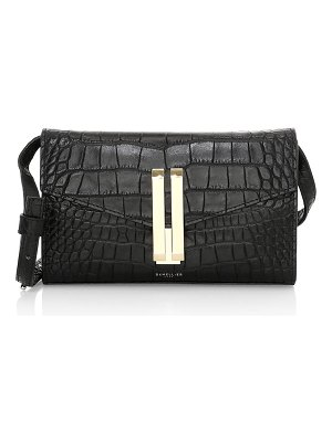 DEMELLIER quebec croc-embossed leather clutch