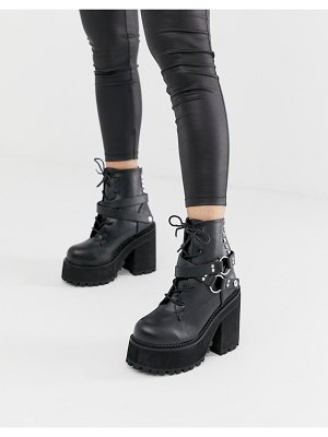 Demonia assault chunky harness boots in black