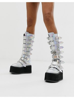 Demonia damned buckle flatform knee boots in silver