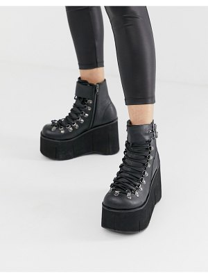 Demonia kera double buckle chunky flatform boots in black