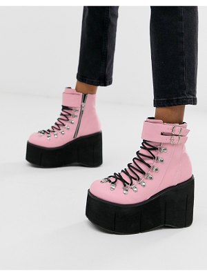Demonia kera double buckle chunky flatform boots in pink
