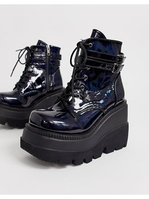 Demonia shaker double buckle chunky flatform boots in black